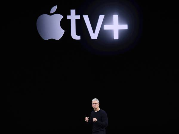 <p>Tim Cook, CEO de Apple, en la presentación de Apple TV+</p>